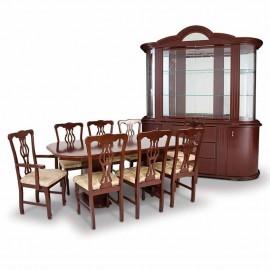Comedor mas Bufetero y Vitrina Emperador Estilo Clásico de 8 sillas