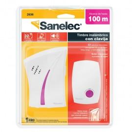 Timbre inalámbrico B color rosa con clavija Sanelec - Envío Gratuito