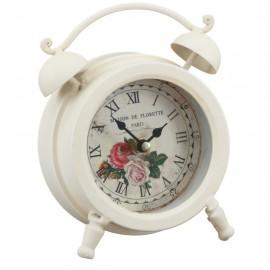 Reloj de Mesa Chico Blanco con Rosas