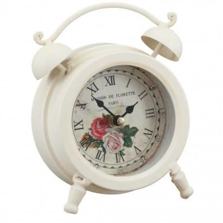 Reloj de Mesa Chico Blanco con Rosas - Envío Gratuito