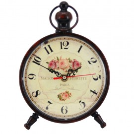 Reloj de Mesa Negro con Rosas