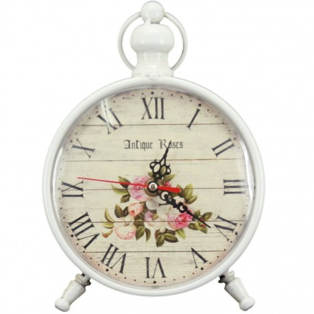 Reloj de Mesa Blanco Antique Roses - Envío Gratuito