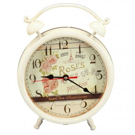 Reloj de Mesa Blanco París con Rosas - Envío Gratuito