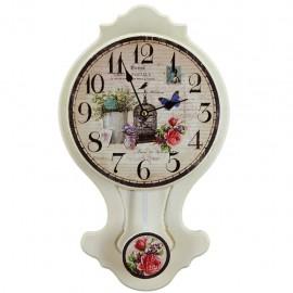 Reloj de Pared con Flores Multicolor