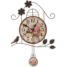 Reloj de Pared Vintage Casa de Pájaro Multicolor