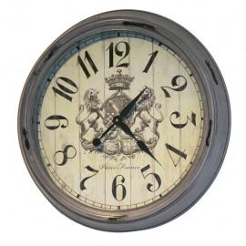 Reloj de Pared Gris con Escudo de Leones