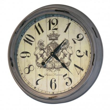 Reloj de Pared Gris con Escudo de Leones - Envío Gratuito