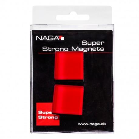 Imán cuadrado de cristal rojo paq 2 pzas Naga - Envío Gratuito
