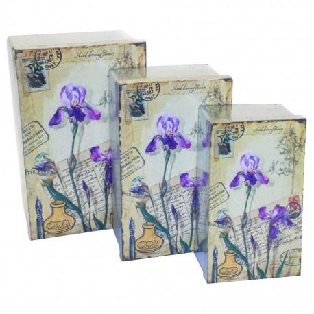 3 Cajas decorativas Flores y Tintero - Envío Gratuito