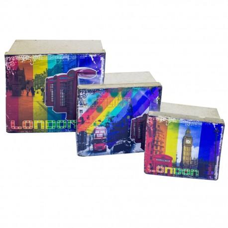 3 Cajas decorativas London - Envío Gratuito