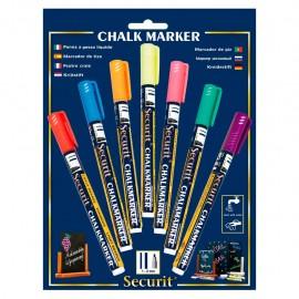 Marcador de tiza, punta fina (1 a 2 mm) 7 piezas en diferentes colores Securit.
