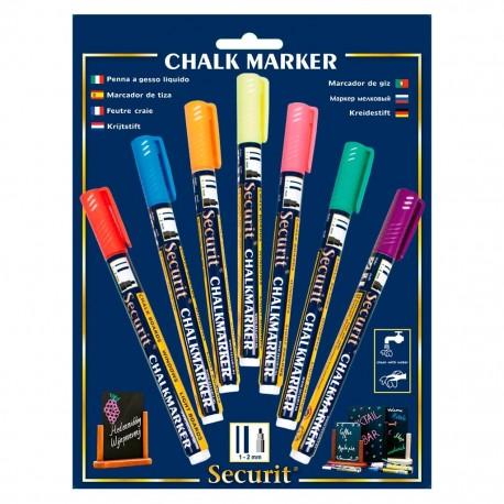 Marcador de tiza, punta fina (1 a 2 mm) 7 piezas en diferentes colores Securit. - Envío Gratuito