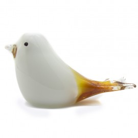 Figura Decorativa de Vidrio Pájaro Blanco