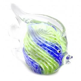 Figura Decorativa de Vidrio Pez Verde y Azul