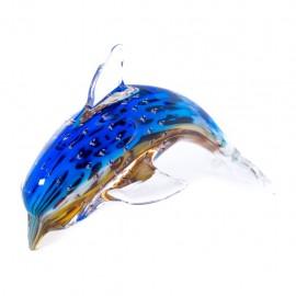 Figura Decorativa de Vidrio Delfín Azul y Rojo