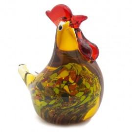 Figura Decorativa de Vidrio Gallina Colores