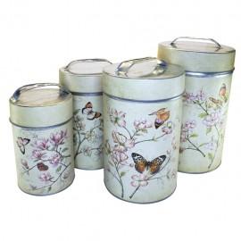 4 Botes decorativos Flores y Mariposas