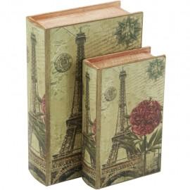 Juego de 2 Caja Libro Torre Eiffel con Flor
