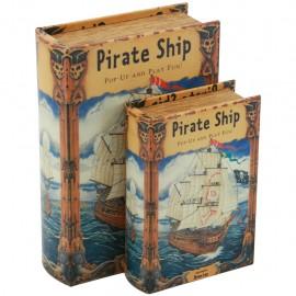 Juego de 2 Caja Libro Pirate Ship