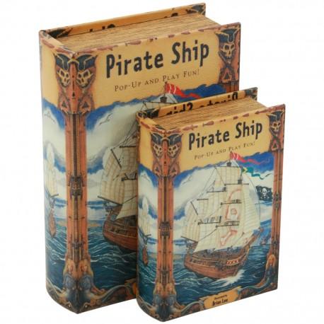 Juego de 2 Caja Libro Pirate Ship - Envío Gratuito