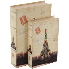 Juego de 2 Caja Libro Postal Paris