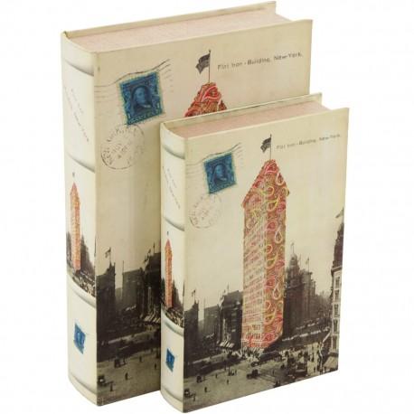 Juego de 2 Caja Libro Postal Nueva York - Envío Gratuito