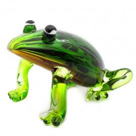 Figura Decorativa de Vidrio Rana Verde