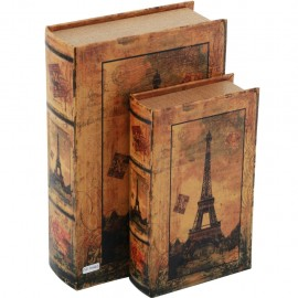 Juego de 2 Caja Libro Paris Antiguo