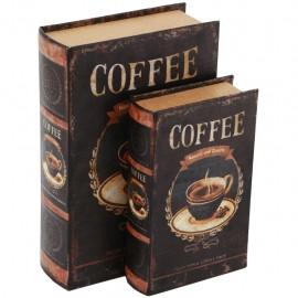Juego de 2 Caja Libro Taza de Café