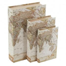 Juego de 3 Caja Libro Mapamundi