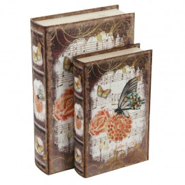 Juego de 2 Caja Libro Mariposas