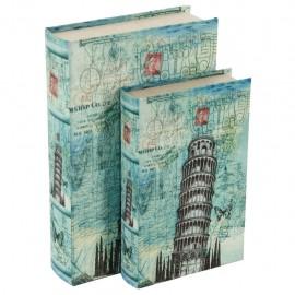 Juego de 2 Caja Libro Torre Pisa