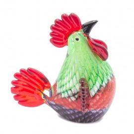 Figura Decorativa de Vidrio Gallo Verde y Rojo