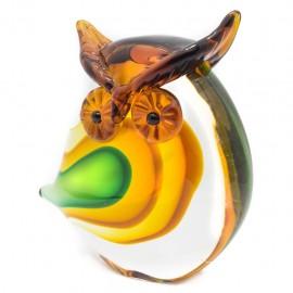 Figura Decorativa de Vidrio Búho Anaranjado