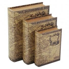 Juego de 3 Caja Libro Mapa Antiguo