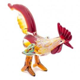 Figura Decorativa de Vidrio Gallo Rojo y Amarillo