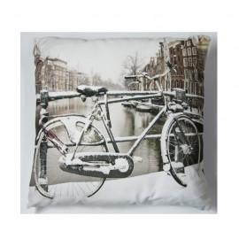 Cojín decorativo 40 X 40 Cm Bici Blanca CasaMia