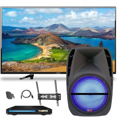 Pantalla Seiki 40 Smart TV  Bocina 12 QFx  DVD QFx  Soporte - Envío Gratuito