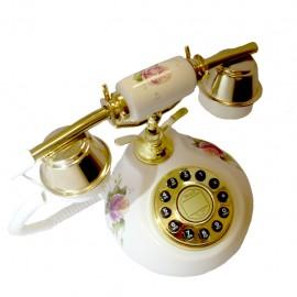 Telefono Alambrico Diseño Frances Piedra Cerámica Flores - Envío Gratuito