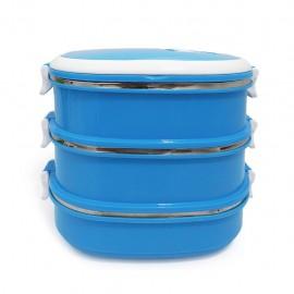 Tupper Para Comida 3 Niveles Rectangular Easy Go Azul - Envío Gratuito