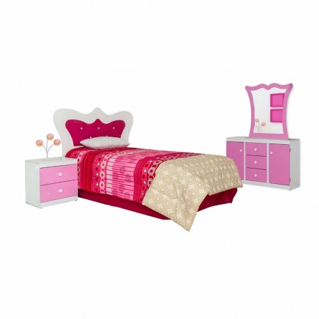 Recámara Matrimonial Lluna 5 Piezas Color Blanco Rosa - Envío Gratuito