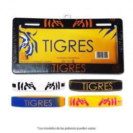 Combo Tigres 4: 1 Par de Portaplacas + 4 Pulseras de Silicón Voltoch Tigres Oficial - Envío Gratuito