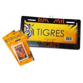 Combo Tigres 2: 1 Par de Portaplacas + 2 Aromatizantes Voltoch Tigres Oficial - Envío Gratuito