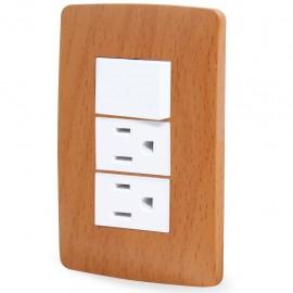 Paquete de 2 Apagador y dos contactos Wooden Toscana con placa - Envío Gratuito