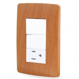 Paquete de 2 Contacto y dos apagadores Wooden Toscana con placa - Envío Gratuito