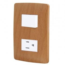 Paquete de 2 Apagador y contacto con placaToscana wooden - Envío Gratuito