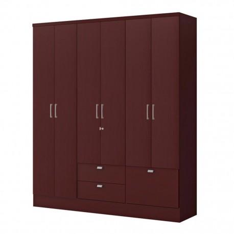 Ropero Closet Bertolini 598 Caoba 6 Puertas 3 Cajones - Envío Gratuito
