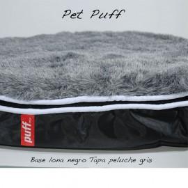Pet Puff Mini: Base Lona Negro Peluche Gris - Envío Gratuito