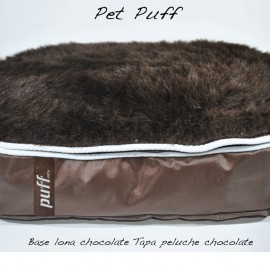Pet Puff Grande: Base Lona Chocolate Peluche Chocolate - Envío Gratuito